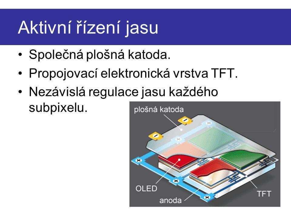 Aktivní řízení jasu Společná plošná katoda. Propojovací elektronická vrstva TFT. Nezávislá regulace jasu každého subpixelu.