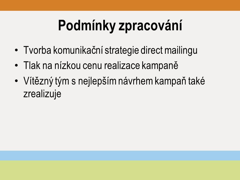 Podmínky zpracování Tvorba komunikační strategie direct mailingu Tlak na nízkou cenu realizace kampaně Vítězný tým s nejlepším návrhem kampaň také zrealizuje