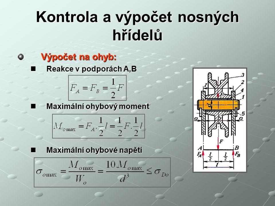 Kontrola a výpočet nosných hřídelů Výpočet na ohyb: Výpočet na ohyb: Reakce v podporách A,B Reakce v podporách A,B Maximální ohybový moment Maximální