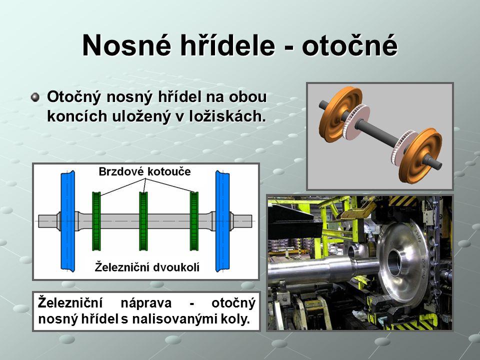 Nosné hřídele - otočné Otočný nosný hřídel na obou koncích uložený v ložiskách. Železniční náprava - otočný nosný hřídel s nalisovanými koly.