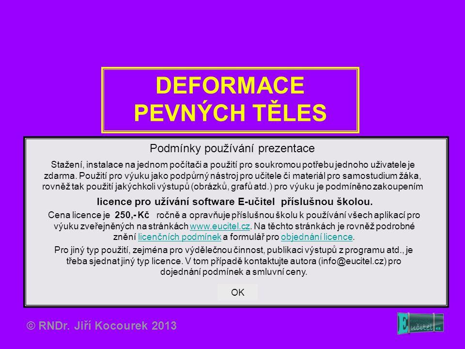 DEFORMACE PEVNÝCH TĚLES Podmínky používání prezentace Stažení, instalace na jednom počítači a použití pro soukromou potřebu jednoho uživatele je zdarm