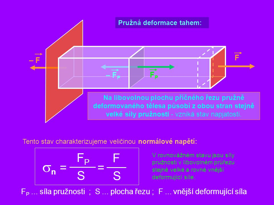 F Pružná deformace tahem: Na libovolnou plochu příčného řezu pružně deformovaného tělesa působí z obou stran stejně velké síly pružnosti - vzniká stav