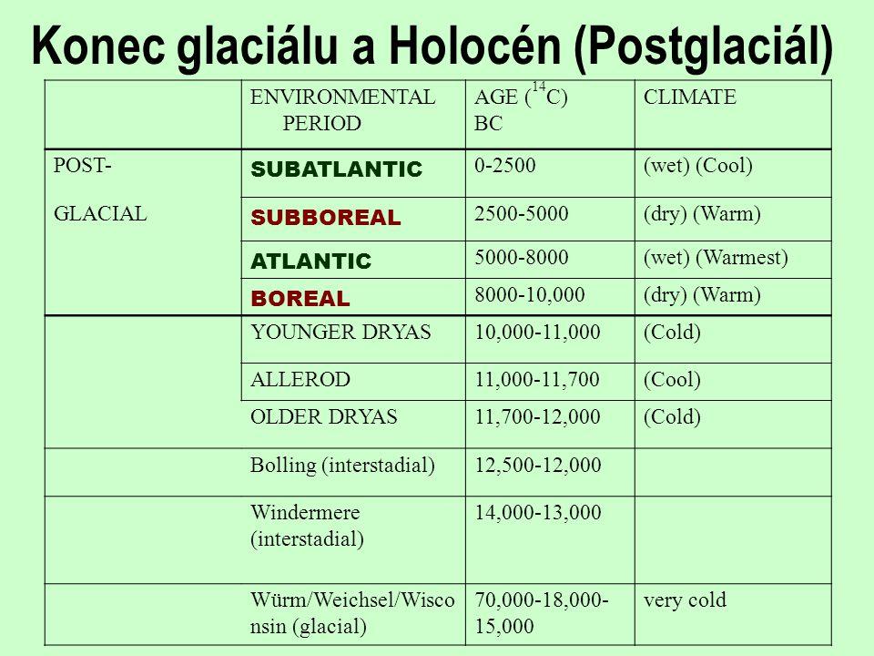 Konec glaciálu a Holocén (Postglaciál) ENVIRONMENTAL PERIOD AGE ( 14 C) BC CLIMATE POST- SUBATLANTIC 0-2500(wet) (Cool) GLACIAL SUBBOREAL 2500-5000(dr