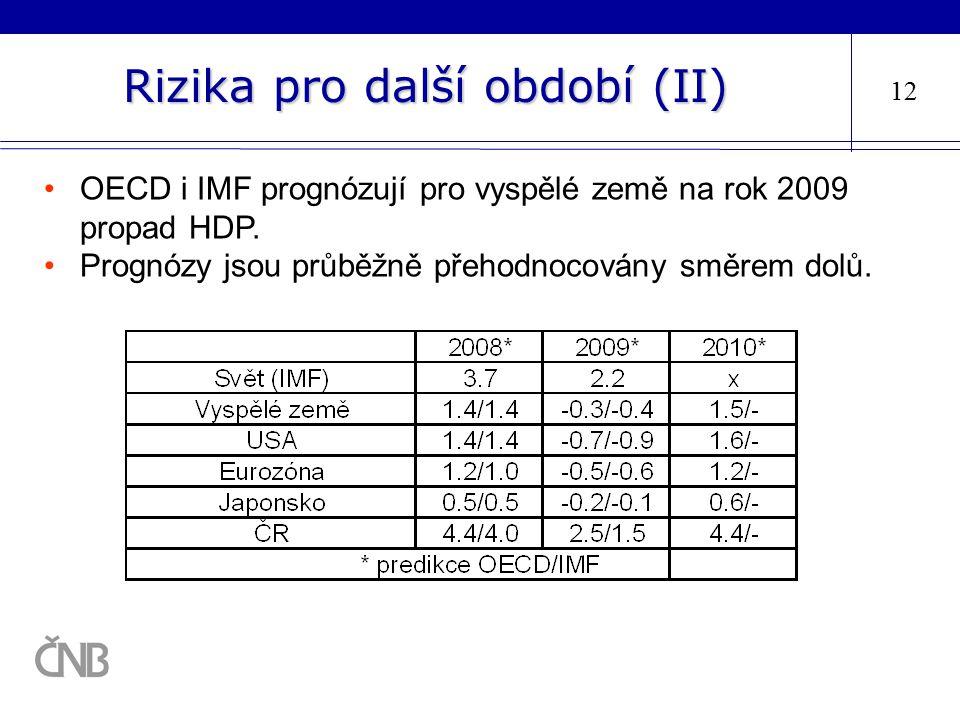 Rizika pro další období (II) 12 OECD i IMF prognózují pro vyspělé země na rok 2009 propad HDP. Prognózy jsou průběžně přehodnocovány směrem dolů.