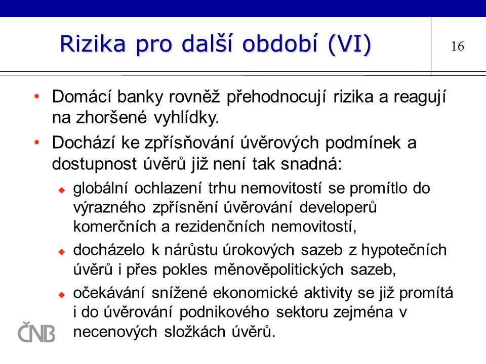 Rizika pro další období (VI) 16 Domácí banky rovněž přehodnocují rizika a reagují na zhoršené vyhlídky. Dochází ke zpřísňování úvěrových podmínek a do