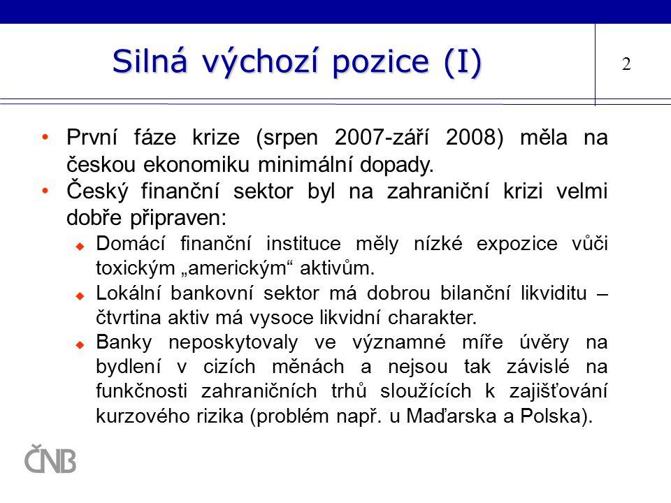Silná výchozí pozice (I) První fáze krize (srpen 2007-září 2008) měla na českou ekonomiku minimální dopady. Český finanční sektor byl na zahraniční kr
