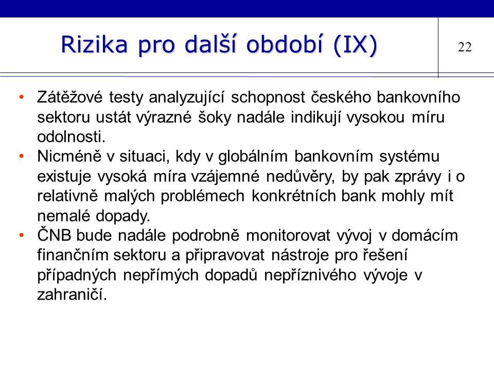 Rizika pro další období (IX) 22 Zátěžové testy analyzující schopnost českého bankovního sektoru ustát výrazné šoky nadále indikují vysokou míru odolnosti.