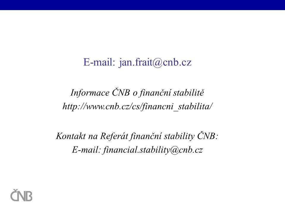 E-mail: jan.frait@cnb.cz Informace ČNB o finanční stabilitě http://www.cnb.cz/cs/financni_stabilita/ Kontakt na Referát finanční stability ČNB: E-mail: financial.stability@cnb.cz