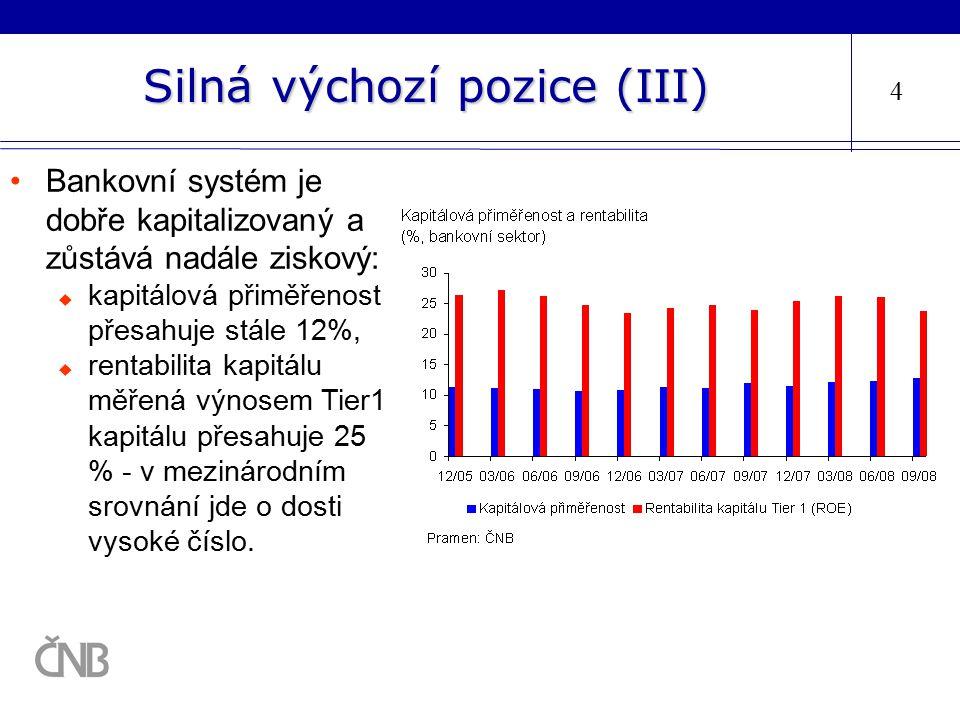 Silná výchozí pozice (III) 4 Bankovní systém je dobře kapitalizovaný a zůstává nadále ziskový:  kapitálová přiměřenost přesahuje stále 12%,  rentabi