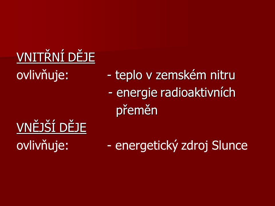 VNITŘNÍ DĚJE : - teplo v zemském nitru ovlivňuje: - teplo v zemském nitru - energie radioaktivních - energie radioaktivních přeměn přeměn VNĚJŠÍ DĚJE ovlivňuje: - energetický zdroj Slunce