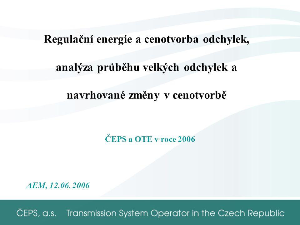 Regulační energie a cenotvorba odchylek, analýza průběhu velkých odchylek a navrhované změny v cenotvorbě ČEPS a OTE v roce 2006 AEM, 12.06.