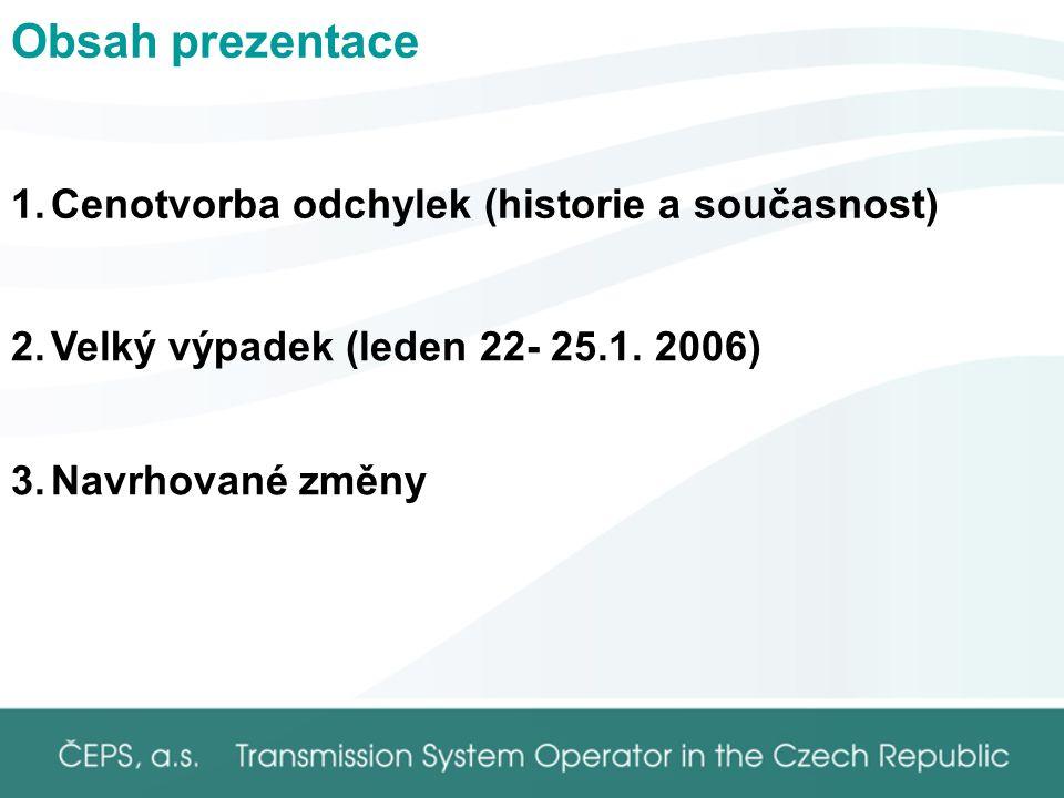 Obsah prezentace 1.Cenotvorba odchylek (historie a současnost) 3.Navrhované změny 2.Velký výpadek (leden 22- 25.1.