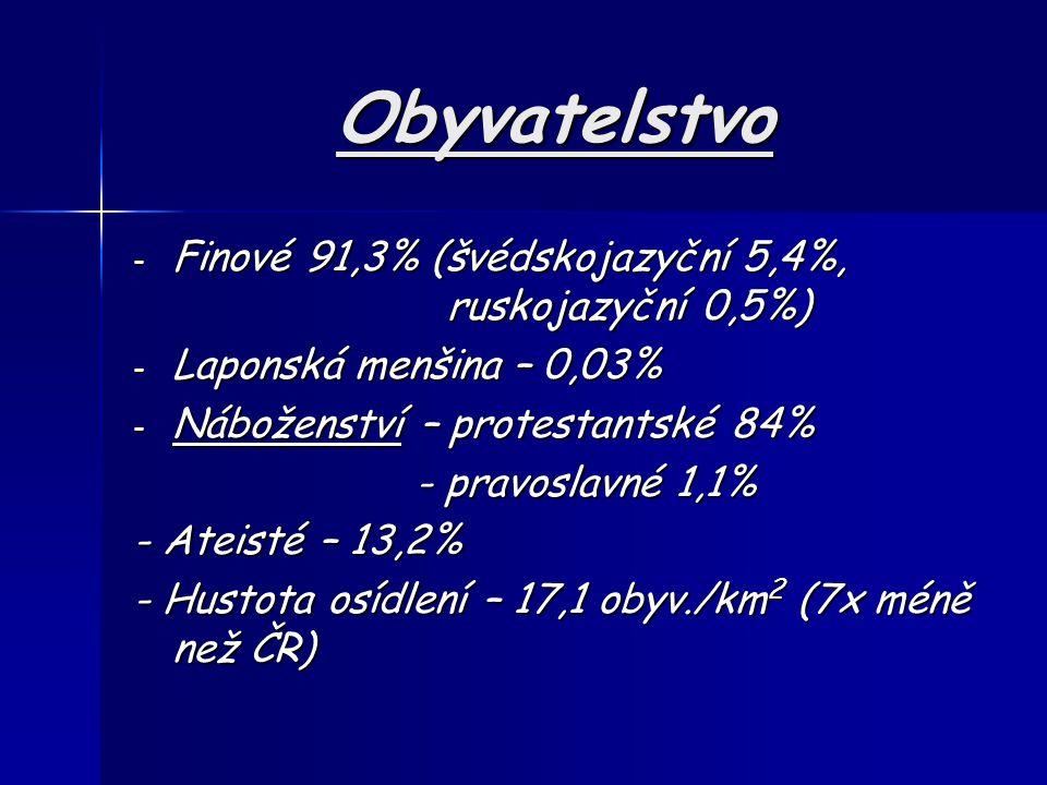 Obyvatelstvo - Finové 91,3% (švédskojazyční 5,4%, ruskojazyční 0,5%) - Laponská menšina – 0,03% - Náboženství – protestantské 84% - pravoslavné 1,1% - pravoslavné 1,1% - Ateisté – 13,2% - Hustota osídlení – 17,1 obyv./km 2 (7x méně než ČR)