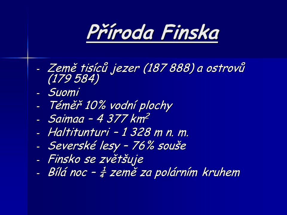 Příroda Finska - Země tisíců jezer (187 888) a ostrovů (179 584) - Suomi - Téměř 10% vodní plochy - Saimaa – 4 377 km 2 - Haltitunturi – 1 328 m n. m.