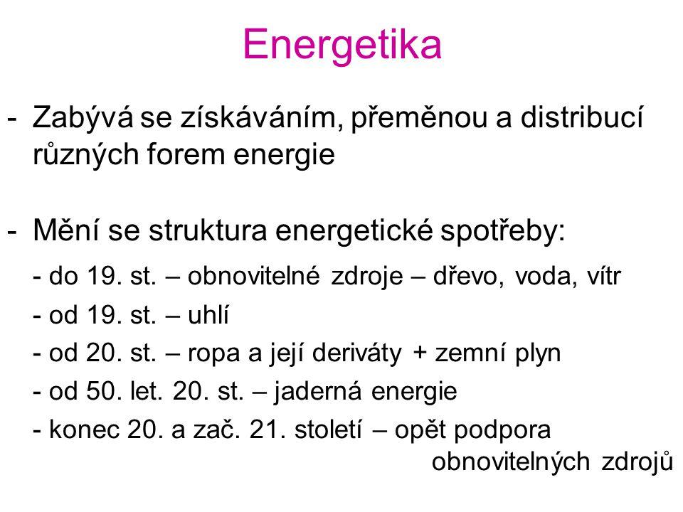 Energetika -Zabývá se získáváním, přeměnou a distribucí různých forem energie -Mění se struktura energetické spotřeby: - do 19. st. – obnovitelné zdro