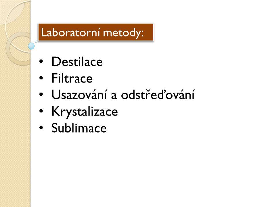 Laboratorní metody: Destilace Filtrace Usazování a odstřeďování Krystalizace Sublimace