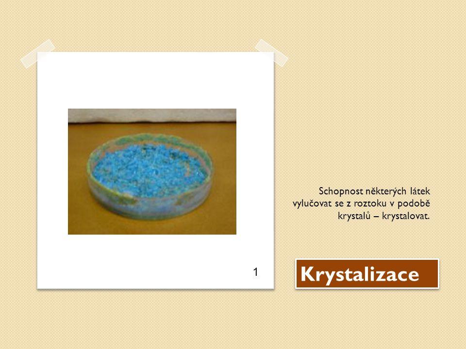 Krystalizace Schopnost některých látek vylučovat se z roztoku v podobě krystalů – krystalovat. 1