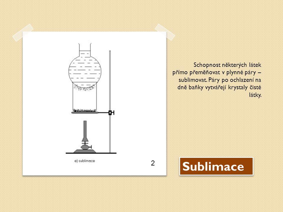 Sublimace Schopnost některých látek přímo přeměňovat v plynné páry – sublimovat.