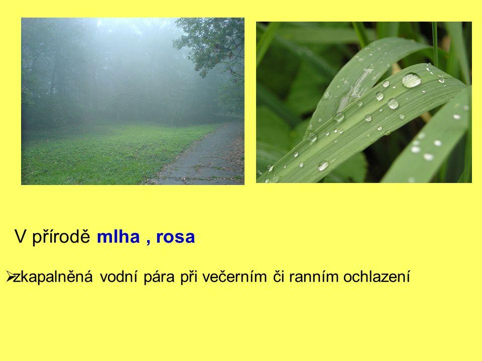 V přírodě mlha, rosa  zkapalněná vodní pára při večerním či ranním ochlazení
