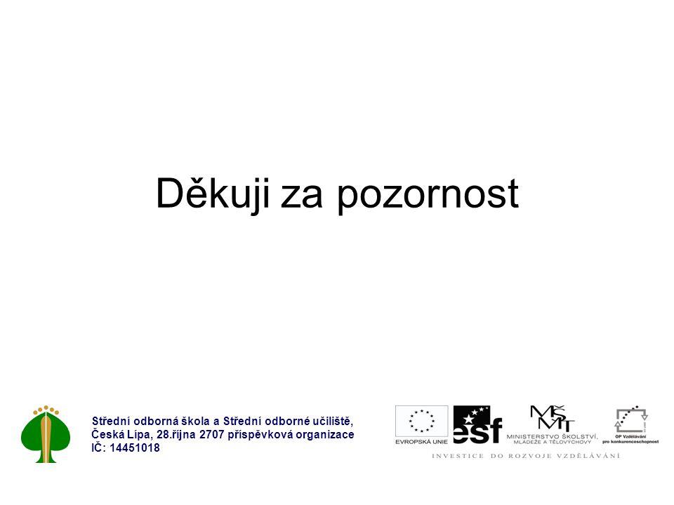 Děkuji za pozornost Střední odborná škola a Střední odborné učiliště, Česká Lípa, 28.října 2707 příspěvková organizace IČ: 14451018