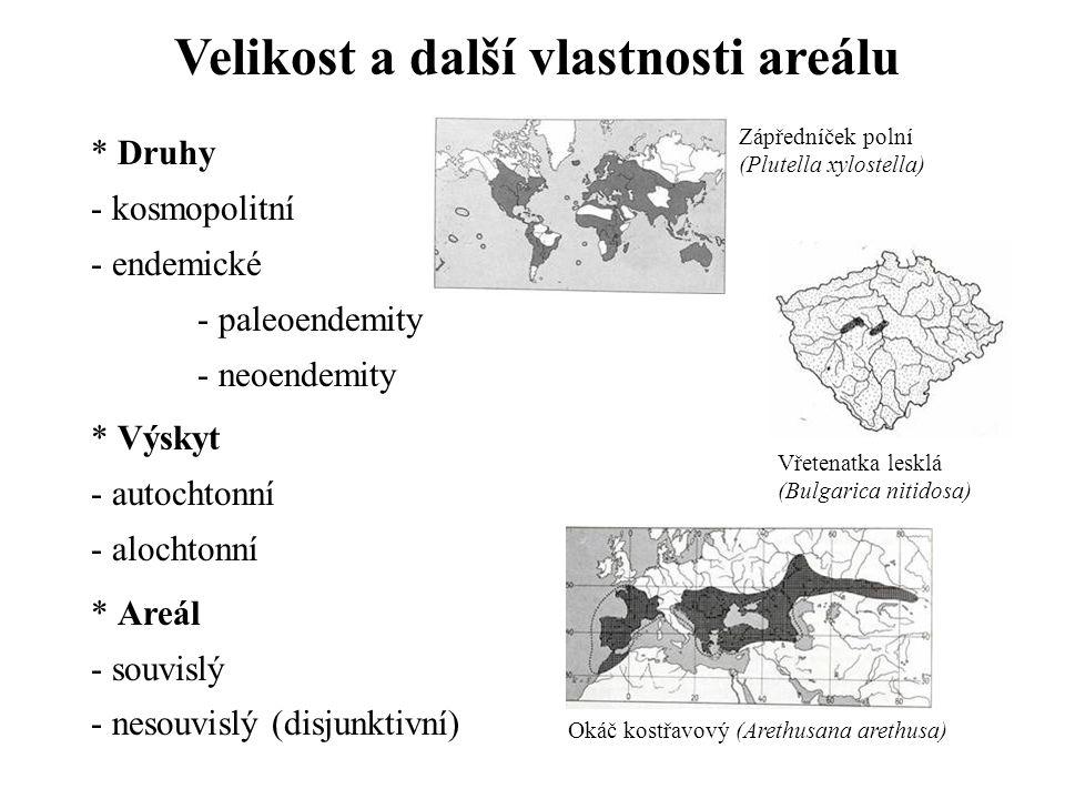 Velikost a další vlastnosti areálu * Druhy - kosmopolitní - endemické - paleoendemity - neoendemity * Výskyt - autochtonní - alochtonní * Areál - souvislý - nesouvislý (disjunktivní) Zápředníček polní (Plutella xylostella) Okáč kostřavový (Arethusana arethusa) Vřetenatka lesklá (Bulgarica nitidosa)