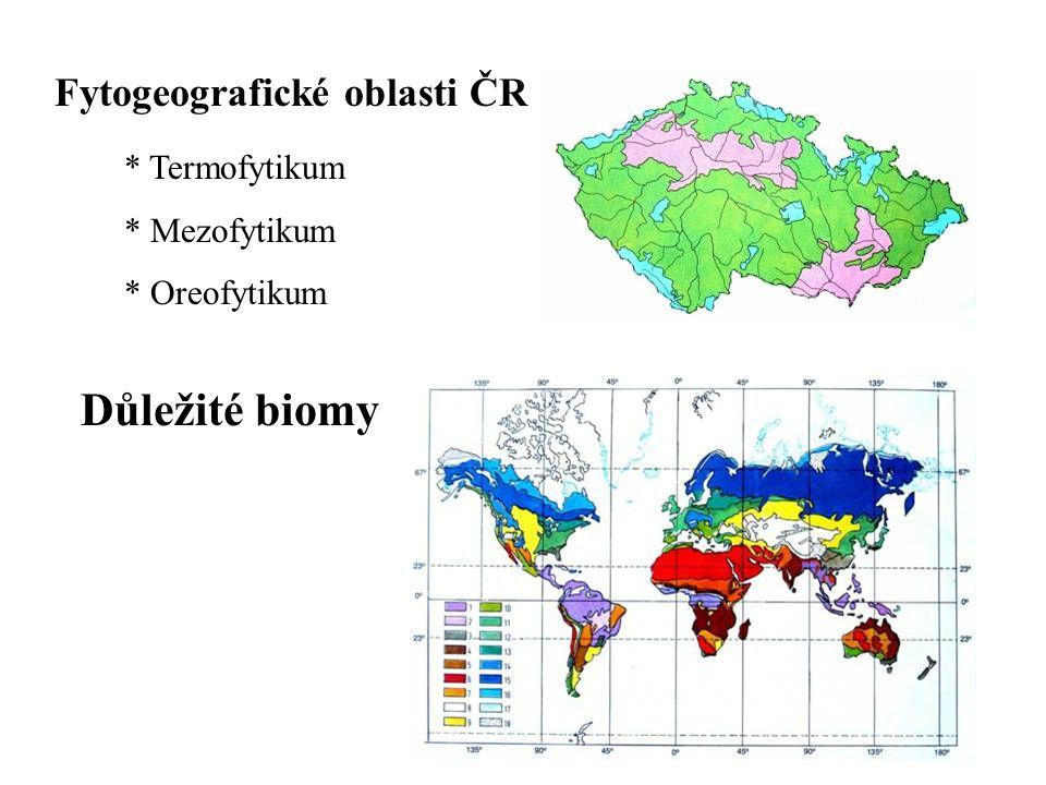* Termofytikum * Mezofytikum * Oreofytikum Důležité biomy Fytogeografické oblasti ČR