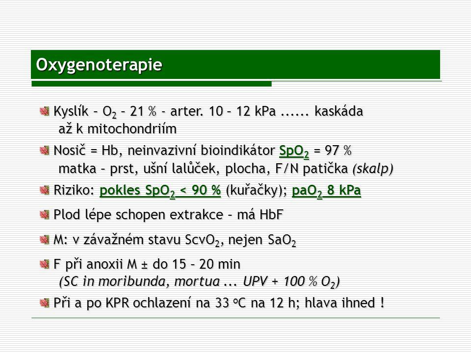 Oxygenoterapie Kyslík – O 2 – 21 % - arter. 10 – 12 kPa...... kaskáda Kyslík – O 2 – 21 % - arter. 10 – 12 kPa...... kaskáda až k mitochondriím Nosič