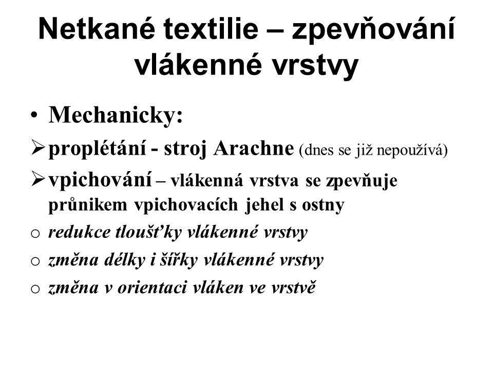 Netkané textilie – zpevňování vlákenné vrstvy Mechanicky:  proplétání - stroj Arachne (dnes se již nepoužívá)  vpichování – vlákenná vrstva se zpevň