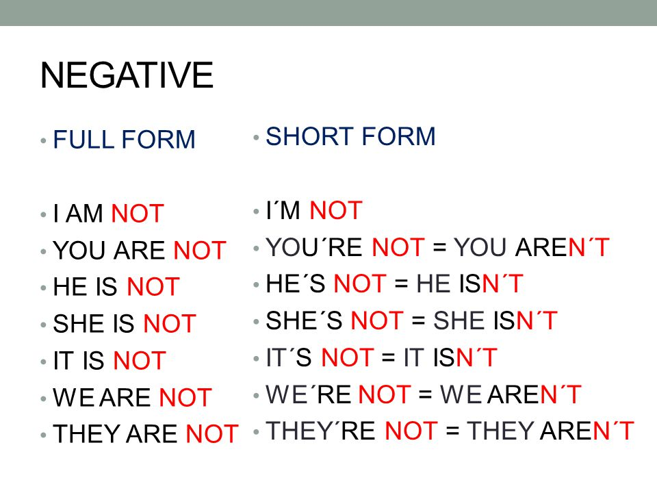 Negative sentences 1.I´m not hungry but I am thirsty.