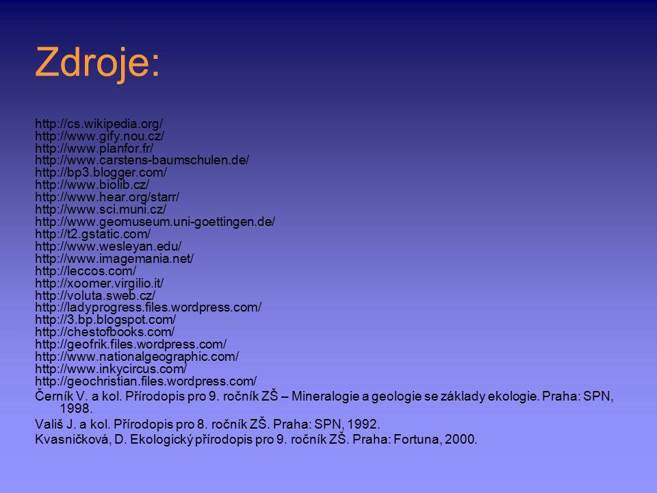 Zdroje: http://cs.wikipedia.org/ http://www.gify.nou.cz/ http://www.planfor.fr/ http://www.carstens-baumschulen.de/ http://bp3.blogger.com/ http://www