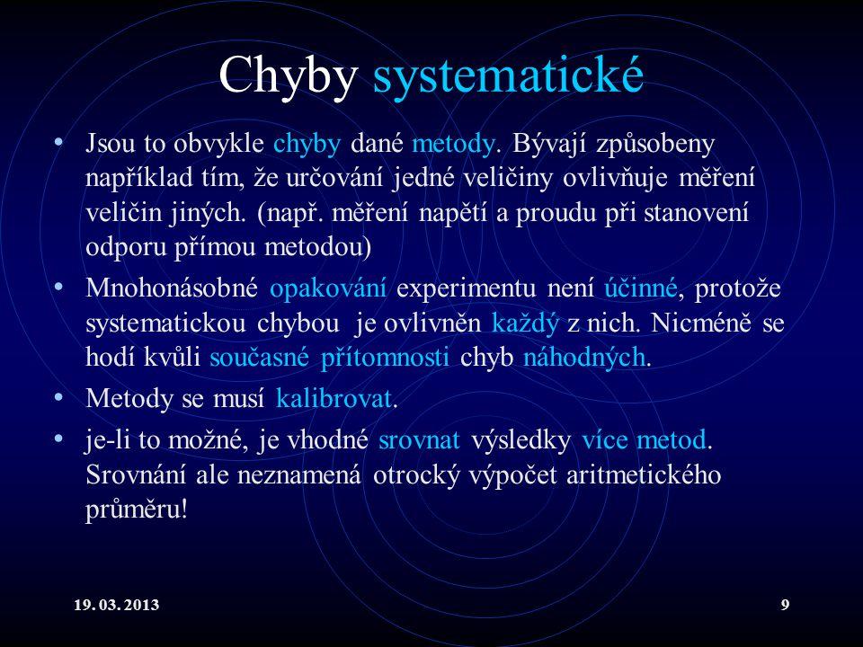 19. 03. 20139 Chyby systematické Jsou to obvykle chyby dané metody.