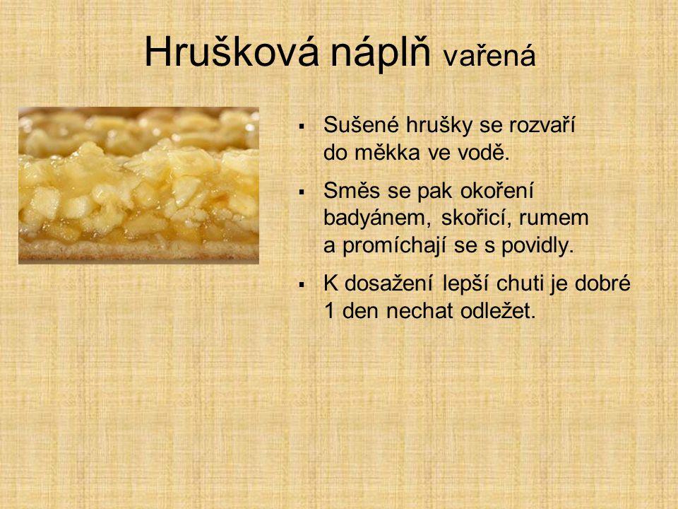 Maková náplň ze směsi  Směs se skládá z cukru, máku, pšeničné mouky, škrobu, aromatu a koření;  přiváží se v pytlích.