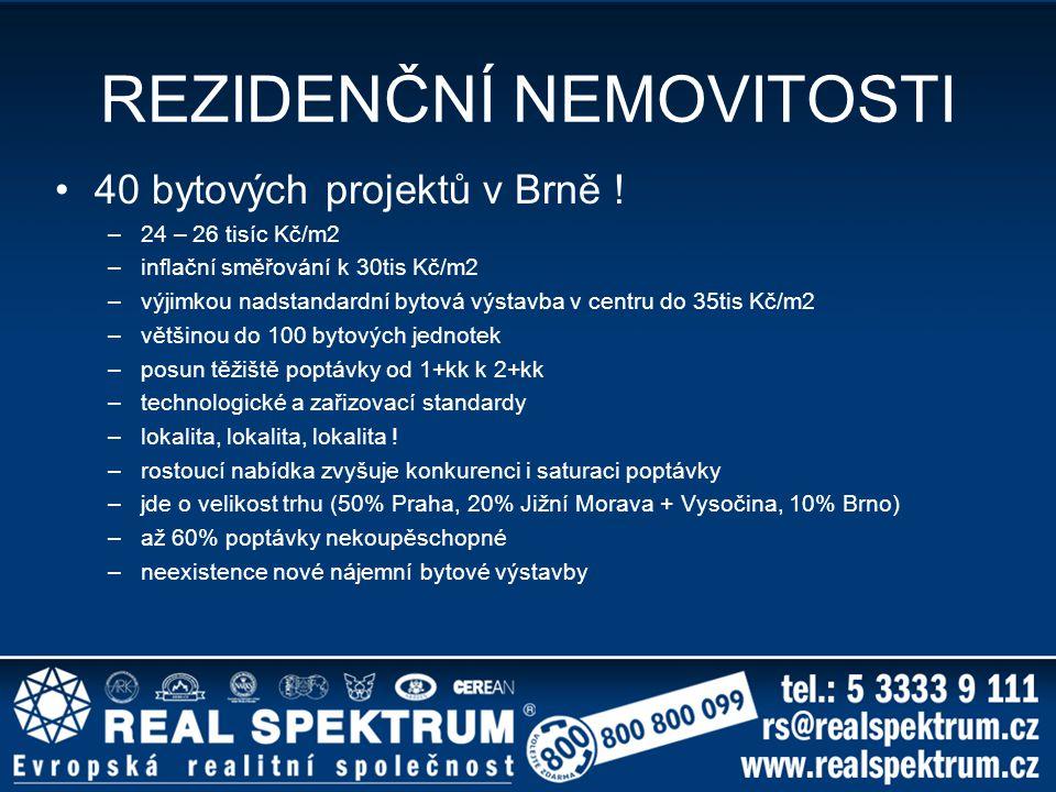 REZIDENČNÍ NEMOVITOSTI 40 bytových projektů v Brně ! –24 – 26 tisíc Kč/m2 –inflační směřování k 30tis Kč/m2 –výjimkou nadstandardní bytová výstavba v
