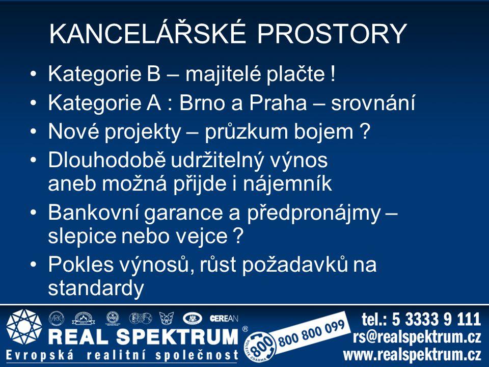 KANCELÁŘSKÉ PROSTORY Kategorie B – majitelé plačte ! Kategorie A : Brno a Praha – srovnání Nové projekty – průzkum bojem ? Dlouhodobě udržitelný výnos