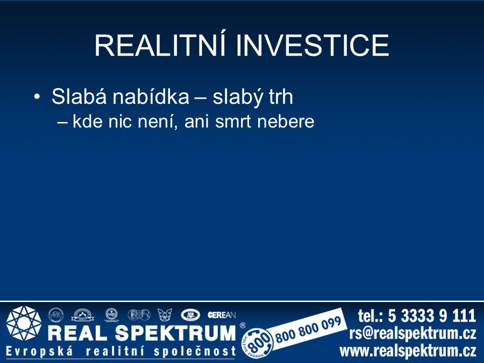 REALITNÍ INVESTICE Slabá nabídka – slabý trh –kde nic není, ani smrt nebere
