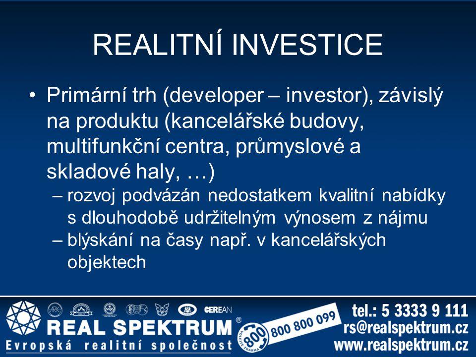 REALITNÍ INVESTICE Primární trh (developer – investor), závislý na produktu (kancelářské budovy, multifunkční centra, průmyslové a skladové haly, …) –