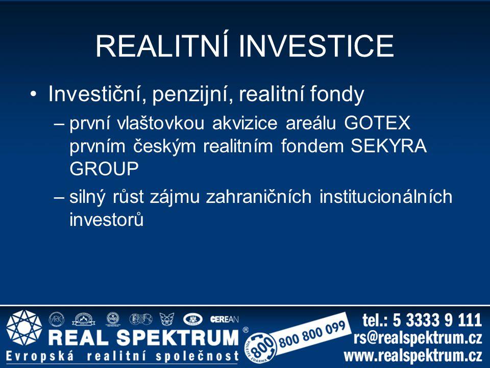 REALITNÍ INVESTICE Investiční, penzijní, realitní fondy –první vlaštovkou akvizice areálu GOTEX prvním českým realitním fondem SEKYRA GROUP –silný růs