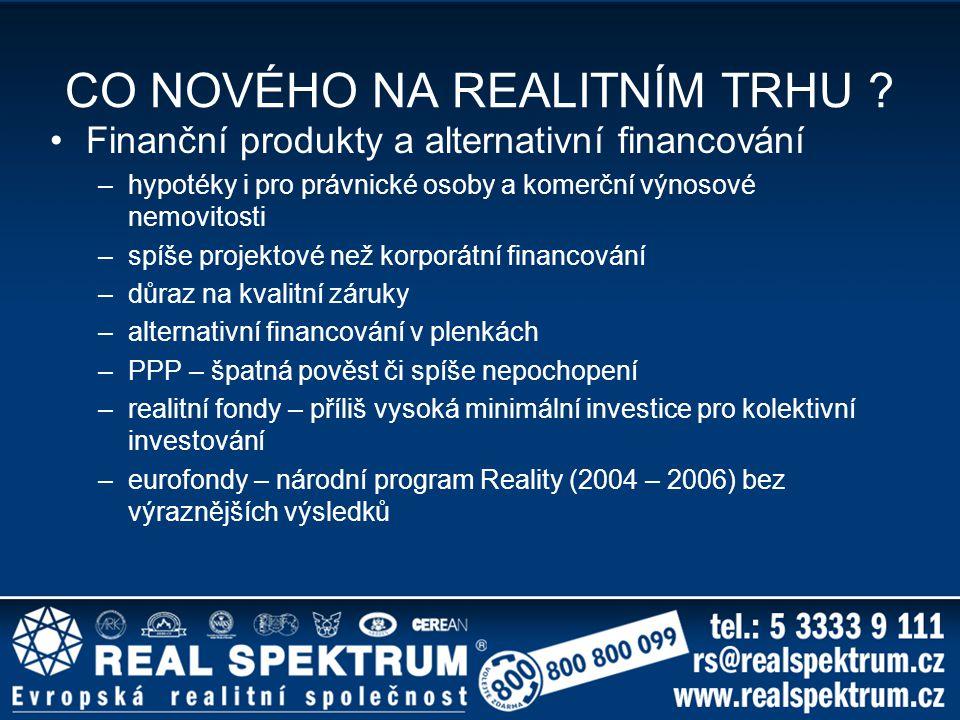 CO NOVÉHO NA REALITNÍM TRHU ? Finanční produkty a alternativní financování –hypotéky i pro právnické osoby a komerční výnosové nemovitosti –spíše proj
