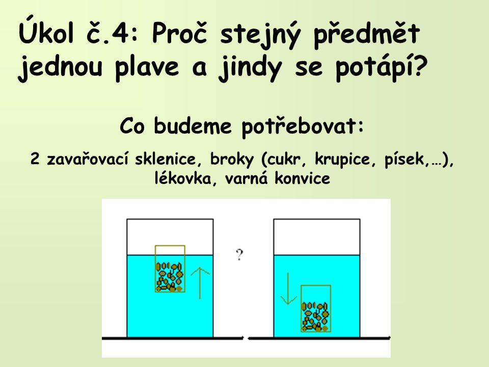 Úkol č.4: Proč stejný předmět jednou plave a jindy se potápí? Co budeme potřebovat: 2 zavařovací sklenice, broky (cukr, krupice, písek,…), lékovka, va