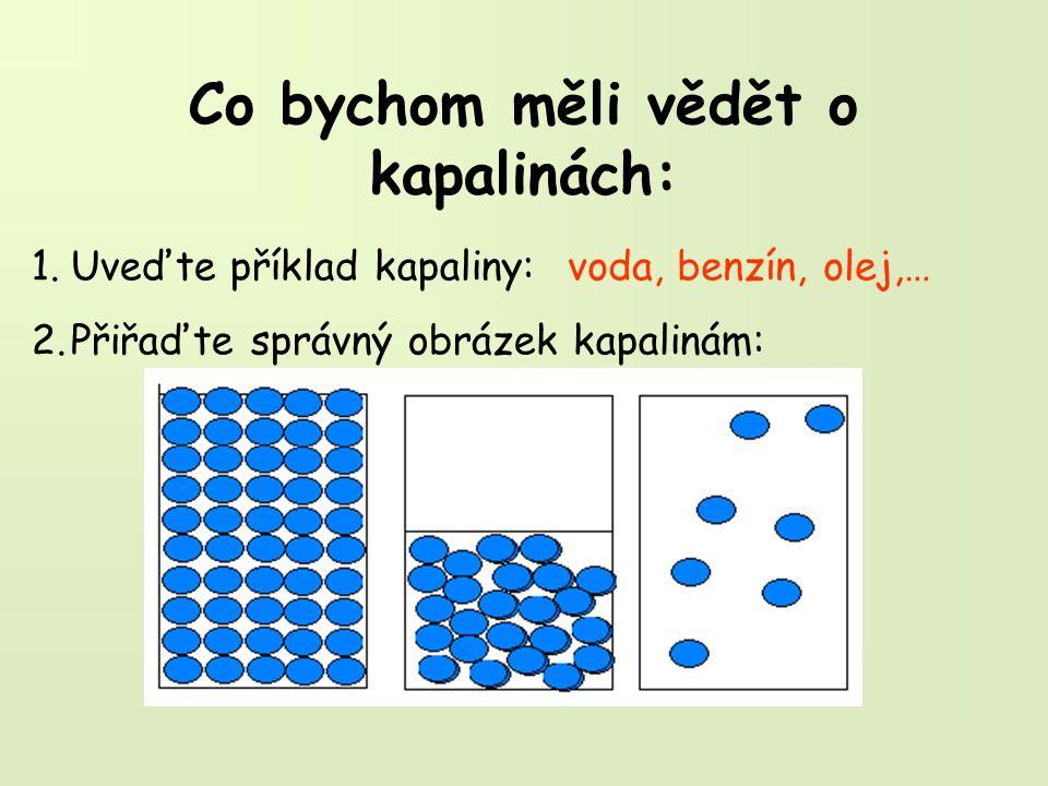 Co bychom měli vědět o kapalinách: 1.Uveďte příklad kapaliny: 2.Přiřaďte správný obrázek kapalinám: voda, benzín, olej,…