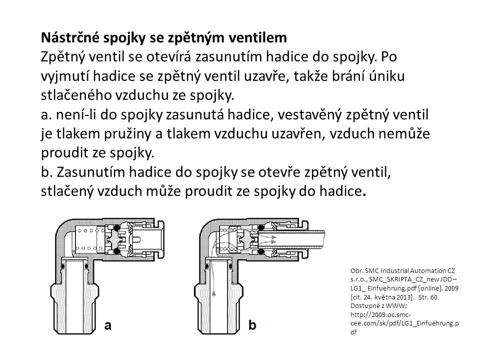 Nástrčné spojky se zpětným ventilem Zpětný ventil se otevírá zasunutím hadice do spojky. Po vyjmutí hadice se zpětný ventil uzavře, takže brání úniku