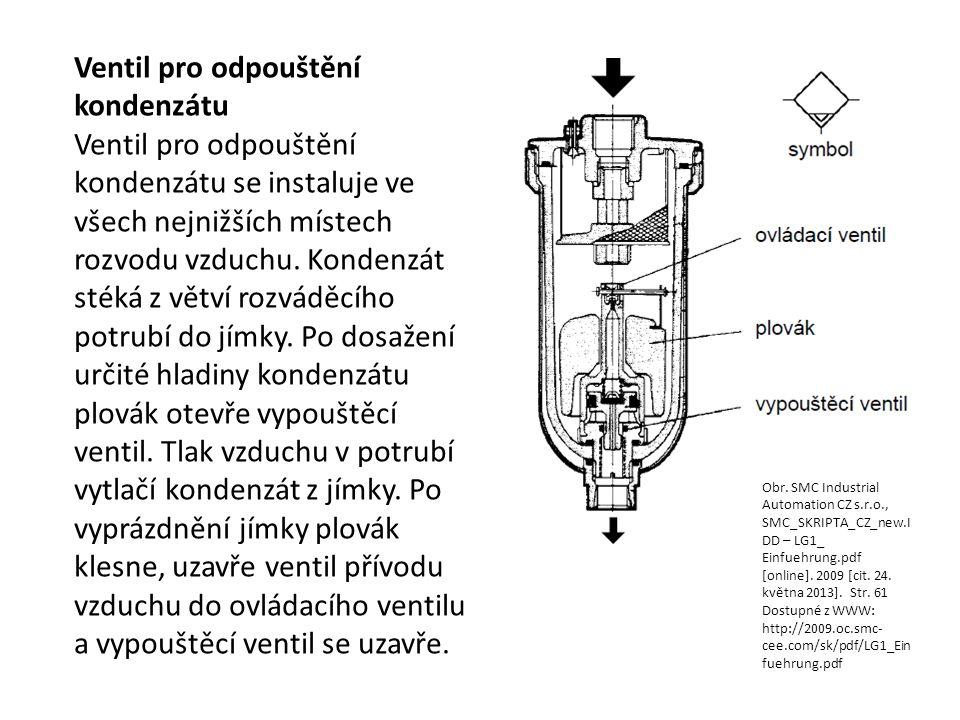 Ventil pro odpouštění kondenzátu Ventil pro odpouštění kondenzátu se instaluje ve všech nejnižších místech rozvodu vzduchu. Kondenzát stéká z větví ro