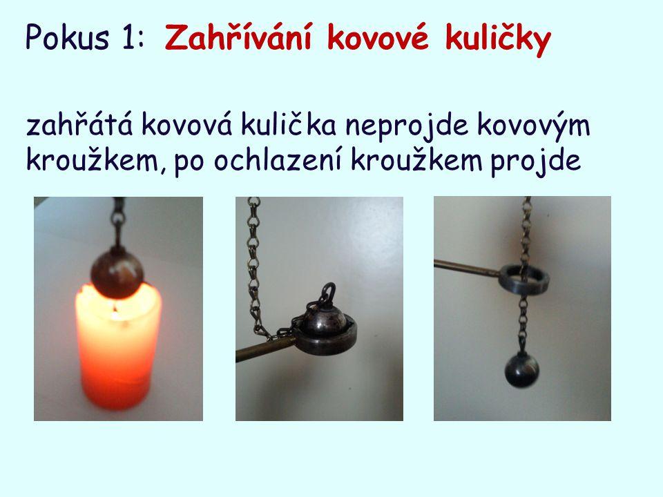 Pokus 1: Zahřívání kovové kuličky zahřátá kovová kulička neprojde kovovým kroužkem, po ochlazení kroužkem projde