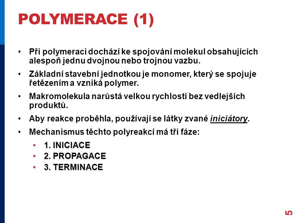 POLYMERACE (2) INICIACE – rozštěpení dvojné vazby, vznik radikálů (obsahují volné elektrony), které rozeběhnou reakci.