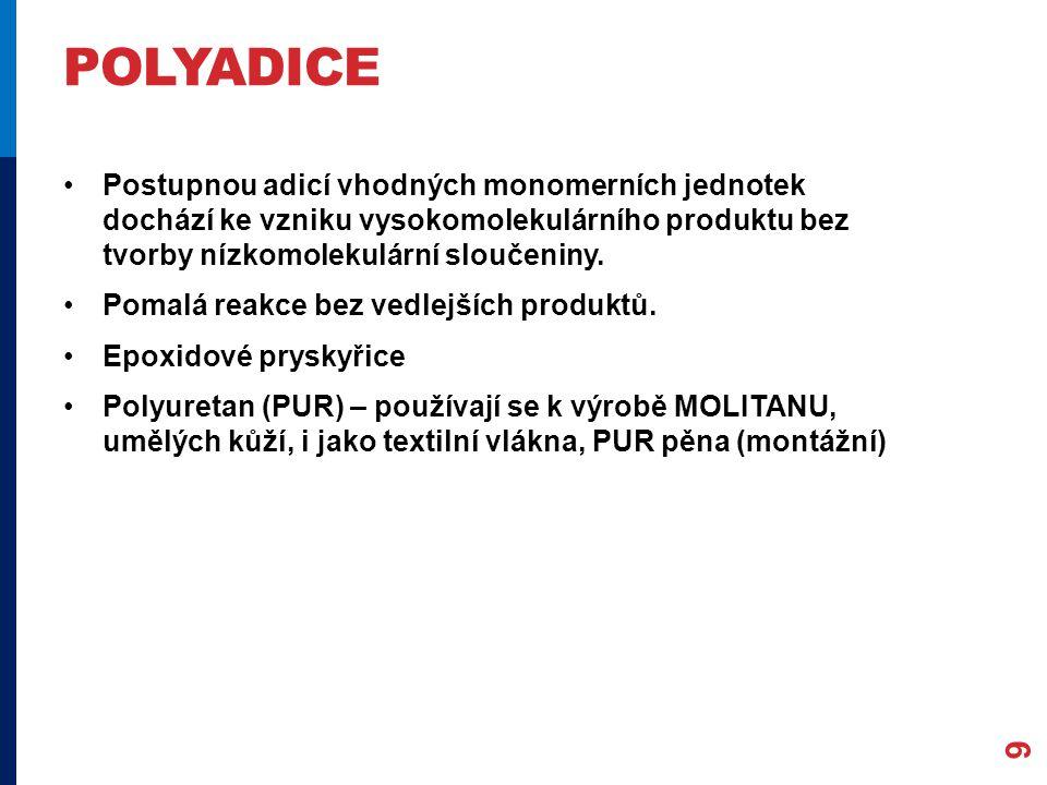 POLYADICE Postupnou adicí vhodných monomerních jednotek dochází ke vzniku vysokomolekulárního produktu bez tvorby nízkomolekulární sloučeniny. Pomalá