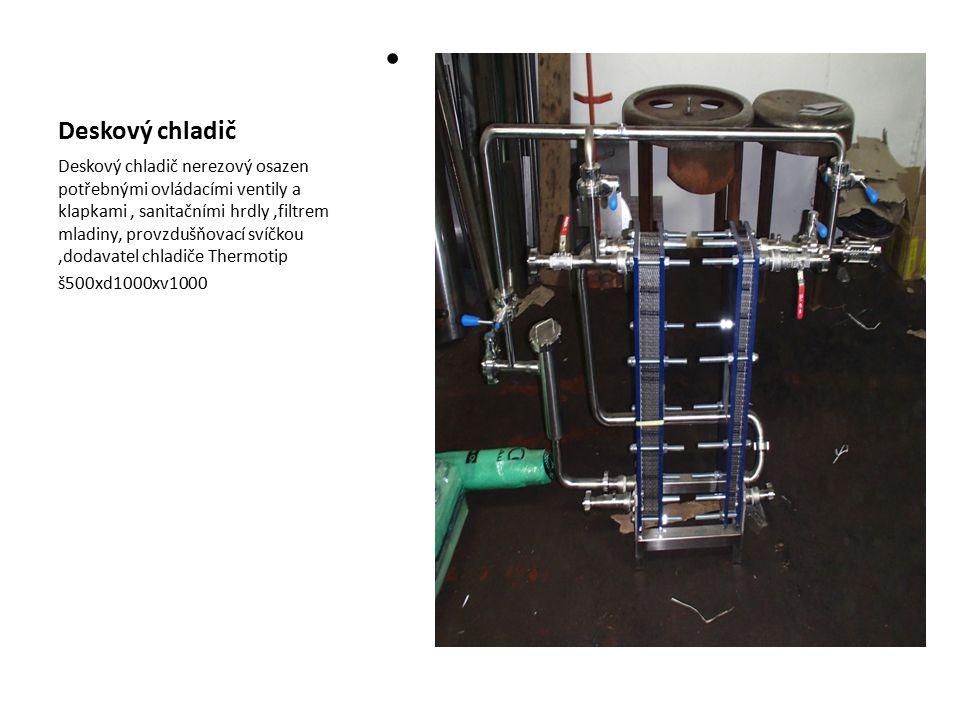 Deskový chladič Deskový chladič nerezový osazen potřebnými ovládacími ventily a klapkami, sanitačními hrdly,filtrem mladiny, provzdušňovací svíčkou,do