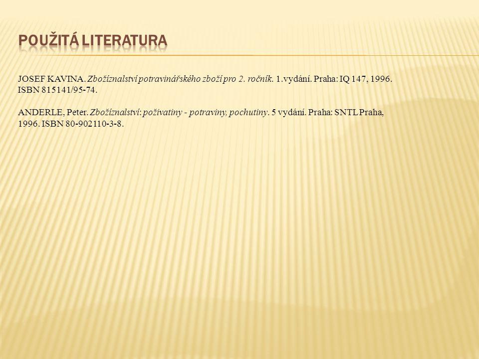 JOSEF KAVINA.Zbožíznalství potravinářského zboží pro 2.
