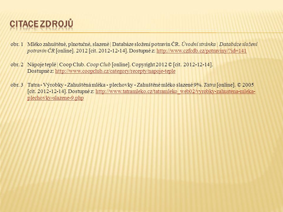 obr.1Mléko zahuštěné, plnotučné, slazené | Databáze složení potravin ČR.