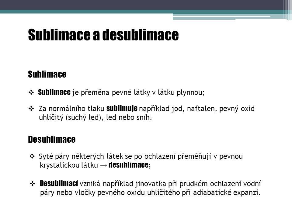 Sublimace a desublimace Sublimace  Za normálního tlaku sublimuje například jod, naftalen, pevný oxid uhličitý (suchý led), led nebo sníh.  Sublimace