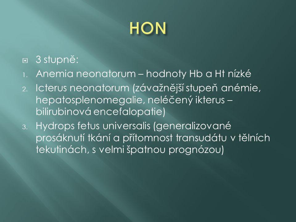  3 stupně: 1. Anemia neonatorum – hodnoty Hb a Ht nízké 2. Icterus neonatorum (závažnější stupeň anémie, hepatosplenomegalie, neléčený ikterus – bili